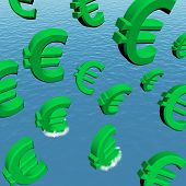 Euro fallen in den Ozean mit Depression Rezession und econ