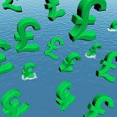 Pfund fallen in das Meer zeigen Depression Rezession und econ