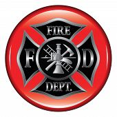 image of firefighter  - Fire Department or Firefighters  Maltese Cross Symbol on a button illustration - JPG