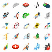 Determination Icons Set. Isometric Set Of 25 Determination Icons For Web Isolated On White Backgroun poster