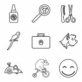 Domestic Animal Icons Set. Outline Set Of 9 Domestic Animal Icons For Web Isolated On White Backgrou poster