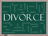 Divorce Word Cloud Concept On A Blackboard