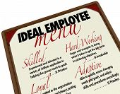 A menu showing you the options for choosing an ideal employee, with qualities such as skilled, hard-