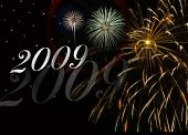 2009 New Year Background With Fireworks