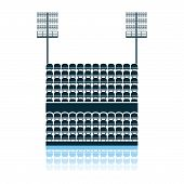 Stadium Tribune With Seats And Light Mast Icon. Shadow Reflection Design. Vector Illustration. poster