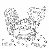 Coloring Page With Cake, Cupcake, Candy, Ice Cream And Other Dessert poster