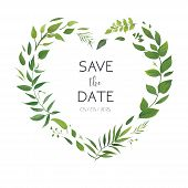 Wedding Floral Invite, Invitation Card, Save The Date Design. Botanical Greenery Heart Shape Wreath. poster