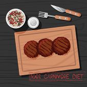 Vector Illustration Of Grilled Patty Of Carnivore Diet. Healthy Nutrition Concept For Meat Lovers. G poster