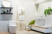 White Urinal And Washbasin And Shower In Granite Bathroom, Modern House Bathroom Interior, Luxury Ba poster