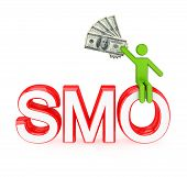3d small person sitting on a word SMO.