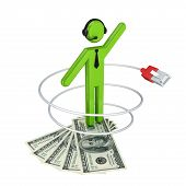 3d small person with a patchcord and dollars.