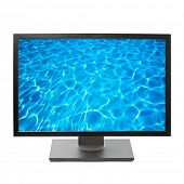 Flat screen HDTV TV with water image on screen