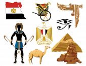 image of hieroglyphic symbol  - Vector Illustration of several Egyptian icons and symbols - JPG