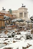 The Roman Forum Covered By Snow