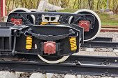 Railway Wheels Narrow Gauge Railway And Ordinary Railway. Freight Cargo Train Or Boxcar Chassis, Sus poster