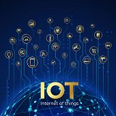 Iot Concept. Internet Of Things. Global Network Connection. Monitoring And Control Smart Systems Ico poster