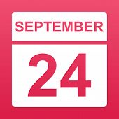 September 24. White Calendar On A  Colored Background. Day On The Calendar. Twenty-fourth Of Septemb poster