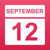 September 12. White Calendar On A  Colored Background. Day On The Calendar. Twelfth Of September. Ra poster