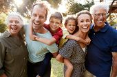 Outdoor Portrait Of Multi-Generation Family Walking In Countryside Against Flaring Sun poster