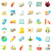 Packing Icons Set. Cartoon Style Of 36 Packing Icons For Web Isolated On White Background poster