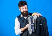 Shop Assistant Or Personal Stylist Service. Stylist Advice. Matching Necktie With Outfit. Man Bearde poster