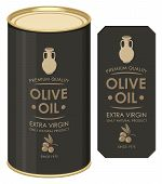 Label For Extra Virgin Olive Oil Decorated By Clay Jug And Olive Twig With Berries In Retro Style On poster