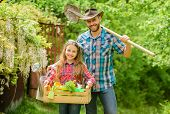 Planting Season. Inspect Your Garden Daily To Spot Insect Trouble Early. Family Dad And Daughter Lit poster