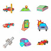 Indoor Parking Icons Set. Cartoon Set Of 9 Indoor Parking Icons For Web Isolated On White Background poster