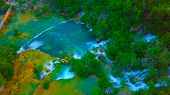 Birds Eye View Of Croatia, Europe ; Last Sunlight Lights Up The Pure Water Waterfall On Plitvice Na poster