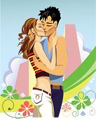 vector image of two kissing young people