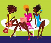silhouette of three girls sitting on chair