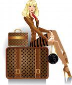 Постер, плакат: женщина путешественник