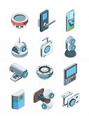 Security Cameras. Smart Wireless Alarm Home Secure Cctv Device Surveillance Vector Isometric Picture poster