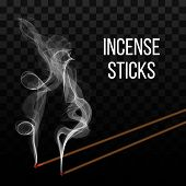 Creative Vector Illustration Of Realistic Incense Stick Aroma With Smoke Isolated On Transparent Bac poster