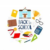 Back To School Vector Banner With Stationery, Books And School Building. Illustration Of Education A poster