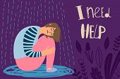 Depressed Girl, Frustrated Woman Vector Illustration Under Rain. Frustrated Woman, Girl Unhappy And  poster