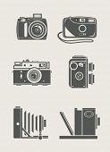 photocamera retro e novos ícones set vector illustration