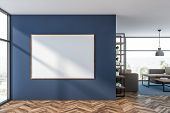 Interior Of Luxury Living Room Or Office Lounge Area With Dark Blue Walls, Wooden Floor, Beige Sofas poster