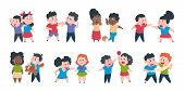 Kid Bullying. Bad Child Behavior, Scared And Strong Angry Children Conflict, Cartoon Characters Conf poster
