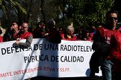 TV workers in a protest demonstration 13