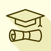 Graduate Icon Isolated On White Background From Startup Collection. Graduate Icon Trendy And Modern  poster