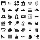 Children Spontaneity Icons Set. Simple Set Of 36 Children Spontaneity Icons For Web Isolated On Whit poster