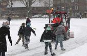 Snow Shovel Machine On Ice Rink