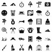 Mountain Tourism Icons Set. Simple Set Of 36 Mountain Tourism Icons For Web Isolated On White Backgr poster