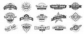 Vintage Badge. Retro Brand Name Logo Badges, Company Label And Hipster Frame Vector Illustration Set poster