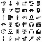 Multimedia Things Icons Set. Simple Set Of 36 Multimedia Things Icons For Web Isolated On White Back poster