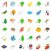 Terrain Icons Set. Isometric Set Of 36 Terrain Icons For Web Isolated On White Background poster