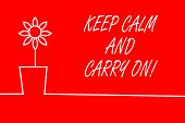 Text Sign Showing Keep Calm And Carry On. Conceptual Photo Slogan Calling For Persistence Face Of Ch poster