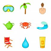 Active Recreation Icons Set. Cartoon Set Of 9 Active Recreation Icons For Web Isolated On White Back poster