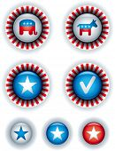 Political campaign badges and buttons.